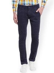 Rodamo Men Navy Blue Checked Slim Fit Corduroy Chinos Trousers