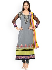 Florence Grey & Yellow Georgette Embroidered Unstitched Dress Material