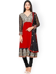 Florence Red & Black Embroidered Georgette & Crepe Unstitched Dress Material