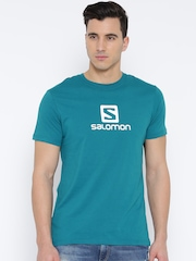 Salomon Men Turquoise Blue Logo Print Round Neck T-shirt