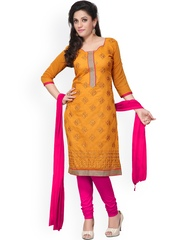 Silk Bazar Orange & Pink Embroidered Chanderi Cotton Unstitched Dress Material