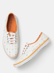 Mast & Harbour Women Cream-Coloured Printed Casual Shoes