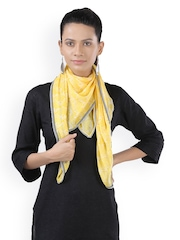 Frore Yellow & White Printed Scarf