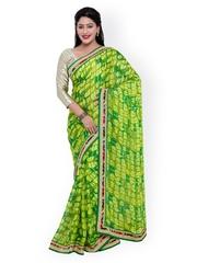 Indian Women Green Georgette Printed Saree