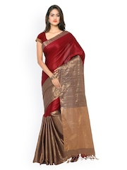 Rajesh Silk Mills Maroon & Gold-Toned Kanjeevaram Cotton Silk Traditional Saree