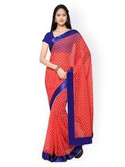 Silk Bazar Red Chiffon Polka Dot Print Saree