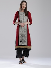 W Women Red Printed Straight Kurta
