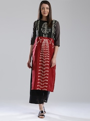 W Women Grey & Red Printed Straight Kurta