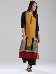W Women Mustard Yellow Printed Straight Kurta