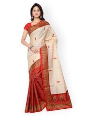 Silk Bazar Beige & Red Bhagalpuri Art Silk Printed Saree
