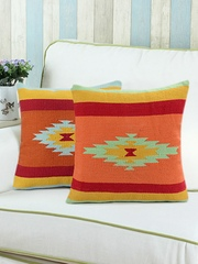 """Saral Home Orange Set of 2 Patterned 18"""" x 18"""" Square Cushion Covers"""