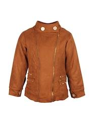 CUTECUMBER Girls Brown Biker Jacket