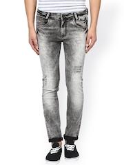 Mufti Men Grey Super Slim Fit Acid Washed Mildly Distressed Jeans
