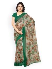 Desi Look Beige & Green Faux Georgette Floral Print Saree