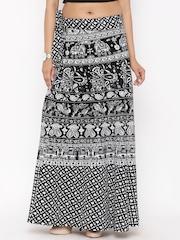 SOUNDARYA Black & White Ethnic Print Wrap-Around Maxi Skirt
