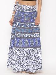 SOUNDARYA White & Blue Ethnic Print Wrap-Around Maxi Skirt
