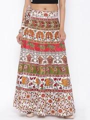 SOUNDARYA White & Red Ethnic Print Wrap-Around Maxi Skirt