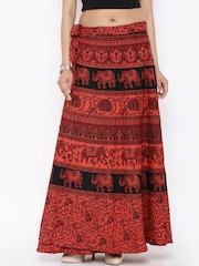 SOUNDARYA Red Ethnic Print Wrap-Around Maxi Skirt