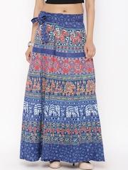 SOUNDARYA Blue Ethnic Print Wrap-Around Maxi Skirt