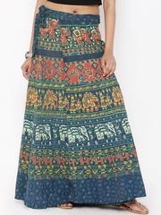 SOUNDARYA Multicoloured Ethnic Print Wrap-Around Maxi Skirt