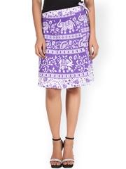SOUNDARYA Purple & White Ethnic Print Wrap-Around Skirt