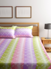 BOMBAY DYEING Green & Purple Printed Cotton 180 TC Double Bedsheet with 2 Pillow Covers