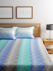 BOMBAY DYEING Blue Printed Cotton 180 TC Double Bedsheet with 2 Pillow Covers