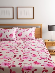 BOMBAY DYEING Pink Printed Double Bedsheet with 2 Pillow Covers