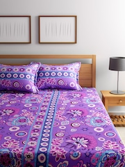 BOMBAY DYEING Blue Printed Polycotton 120 TC Double Bedsheet with 2 Pillow Covers