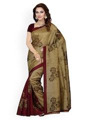 Ishin Brown Bhagalpuri Art Silk Floral Print Saree