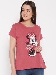 Disney Women Coral Red Printed Round Neck T-Shirt