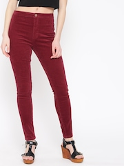 FOREVER 21 Women Red Solid Corduroy Trousers