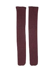 FOREVER 21 Women Burgundy Patterned Above Ankle-Length Socks