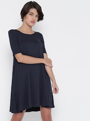 FOREVER 21 Women Navy Solid A-Line Dress
