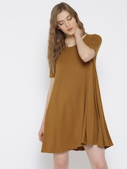 FOREVER 21 Women Mustard Brown Solid A-Line Dress