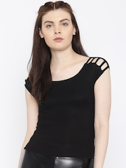 FOREVER 21 Women Black Self-Striped Top