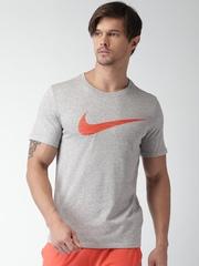Nike Men Grey Melange Printed Round Neck AS M NK T-shirt