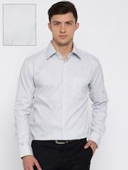 Park Avenue Grey Slim Fit Self-Design Formal Shirt