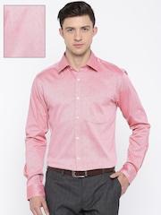 Park Avenue Men Red Slim Fit Self-Design Formal Shirt