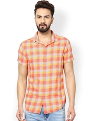 Mufti Men Peach-Coloured & Yellow Slim Fit Checked Casual Shirt