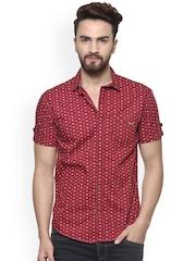 Mufti Men Maroon Slim Fit Printed Casual Shirt