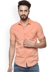 Mufti Men Orange Slim Fit Solid Casual Shirt