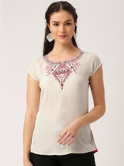 IMARA by Shraddha Kapoor Women Cream-Coloured Embroidered Kurti