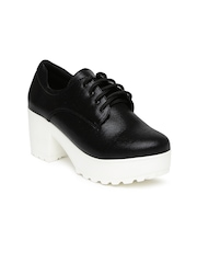 Inc 5 Women Black Solid Heeled Boots