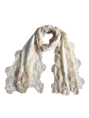 Vozaf Women Cream-Coloured Woollen Shawl with Lace Work