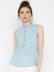 Flying Machine Women Blue Solid Denim Shirt-Style Top