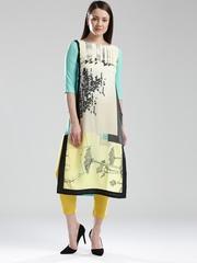 W Women Off-White & Blue Printed Straight Kurta