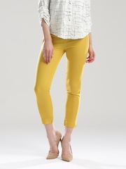 W Women Mustard Yellow Solid Cropped Cigarette Trousers