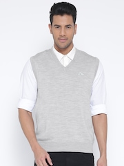 Monte Carlo Men Grey Melange Solid Woollen Sleeveless Sweater