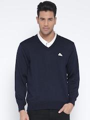 Monte Carlo Men Navy Woollen Solid Sweater
